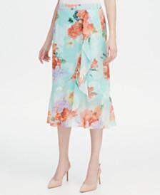 Calvin Klein Ruffled Floral-Print Skirt