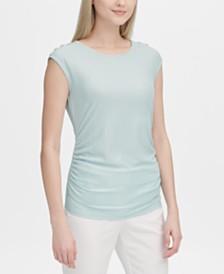 Calvin Klein Button-Shoulder Top
