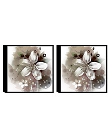 Chic Home Decor Magnolia 2 Piece Framed Canvas Wall Art Floral Design
