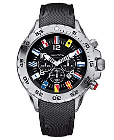 Men's N16553G NST Chrono Flags Black Resin-Coated Leather Strap Watch