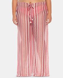 Becca ETC Plus Size Pier Side Stripe Crochet Cover-Up Pants