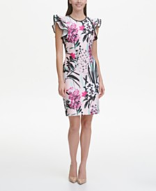 Tommy Hilfiger Petite Floral Flutter Sleeve Sheath Dress