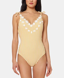 Jessica Simpson V-Neck Tie-Shoulder One-Piece Swimsuit