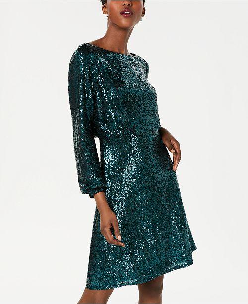 Sequined Lace Back Blouson Dress
