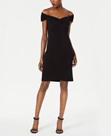 Tadashi Shoji Off-The-Shoulder Ribbed Sheath Dress