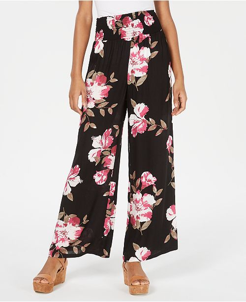 American Rag Juniors' Floral Wide-Leg Pants, Created for Macy's