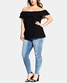 City Chic Trendy Plus Size Embroidered Off-The-Shoulder Top