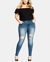 d12d0bcd2a City Chic Trendy Plus Size Harley Ripped Skinny Jeans