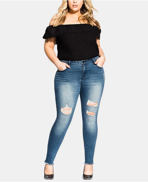 City Chic Trendy Plus Size Harley Ripped Skinny Jeans