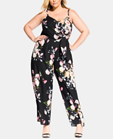 c450cc45c9f City Chic Trendy Plus Size Floral-Print Jumpsuit