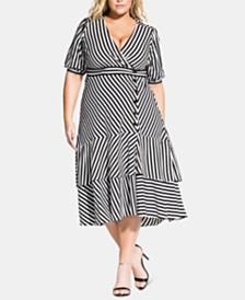 City Chic Trendy Plus Size Striped Wrap-Front Dress