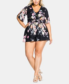 City Chic Trendy Plus Size Twisted Open-Back Romper