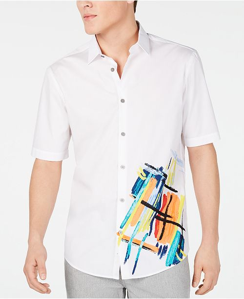 Alfani Men's Artistic Expression Printed Shirt, Created for Macy's
