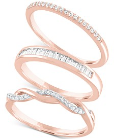 3-Pc. Set Diamond Stacking Rings (1/4 ct. t.w.)