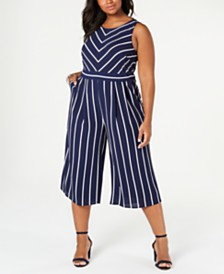 Jessica Howard Plus Size Striped Jumpsuit