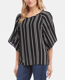 Karen Kane Striped Flare-Sleeve Top