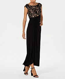 Embroidered Mesh Faux-Wrap Gown