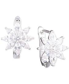 Silver-Tone Crystal Flower Stud Earrings