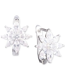 Anne Klein Silver-Tone Crystal Flower Stud Earrings