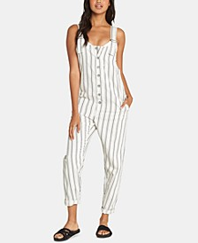 Juniors' Sun Seeker Cotton Striped Overalls