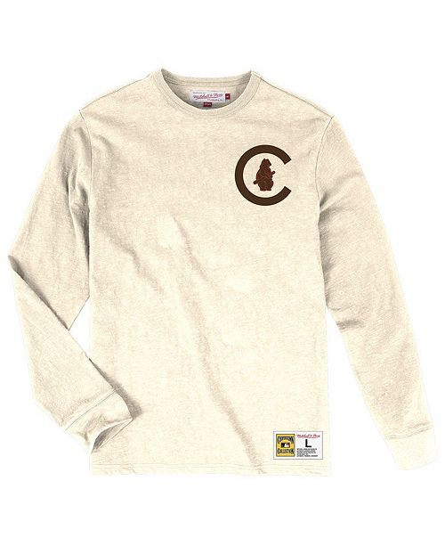 402b0015 Mitchell & Ness Men's Chicago Cubs Slub Long Sleeve T-Shirt ...