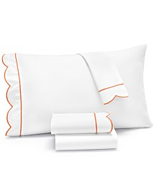 Martha Stewart Collection Signature Scallop 4-Pc. Full Sheet Set, 400 Thread Count 100% Cotton Percale, Created for Macy's