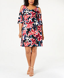 Connected Plus Size Floral Printed Cold-Shoulder Dress