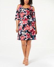 Connected Plus Size Floral Printed Cold-Shoulder Dress