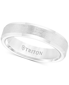 Triton Men's White Tungsten Carbide Ring, Wedding Band (5mm)