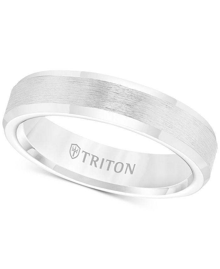 Triton - Men's White Tungsten Carbide Ring, Wedding Band (5mm)