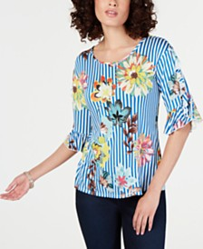 NY Collection Petite Printed Ruffle-Sleeve Top