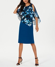 Connected Petite Printed Chiffon-Cape Dress