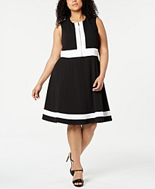 Plus Size Sleeveless Colorblock Fit & Flare Dress
