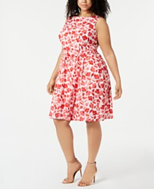 Anne Klein Plus Size Cotton Printed Jacquard Fit & Flare Dress