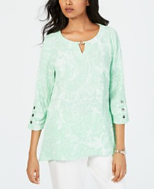JM Collection Petite Textured Button-Sleeve Top, Created for Macy's