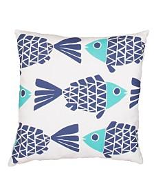 "Jaipur Living Go Fish White/Blue Animal Indoor/ Outdoor Throw Pillow 20"""