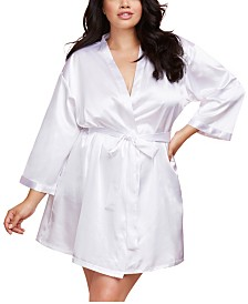 Dreamgirl Plus Size Satin Charmeuse Bride Robe