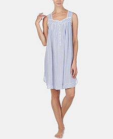 Eileen West Lace-Trim Printed Chemise Nightgown
