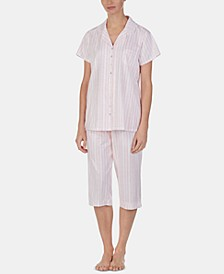 Lace-Trim Top and Capri Pants Cotton Knit Pajama Set