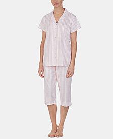 Eileen West Lace-Trim Top and Capri Pants Cotton Knit Pajama Set