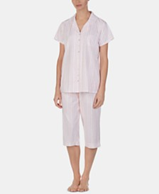Eileen West Lace-Trim Top and Capri Pants Cotton Knit Pajama Set