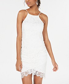 Juniors' Lace Halter Wrap Skirt Dress