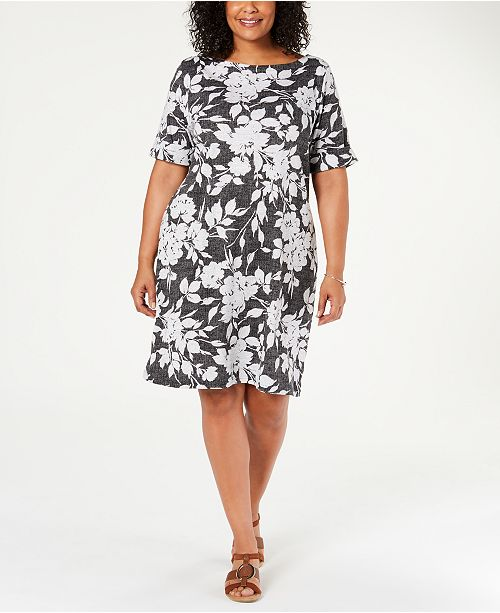 Karen Scott Plus Size Printed Shift Dress, Created for Macy\'s ...