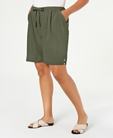 Karen Scott Plus Size Cotton Pull-On Shorts, Created for Macy's