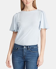 Lauren Ralph Lauren Flutter-Sleeve Cotton Top