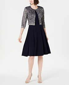Jessica Howard Petite Dress & Metallic Lace Jacket