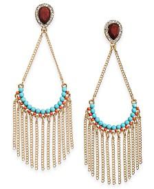 Thalia Sodi Gold-Tone Teardrop Chain Fringe Earrings, Created for Macy's