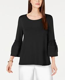 Alfani Pleated Bell-Sleeve Top, Created for Macy's