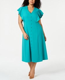 Calvin Klein Plus Size Button-Front A-line Dress