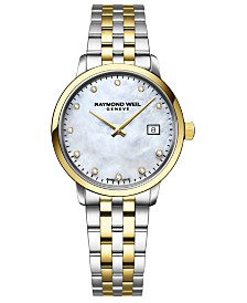RAYMOND WEIL Women's Swiss Toccata Diamond-Accent Two-Tone Stainless Steel Bracelet Watch 29mm